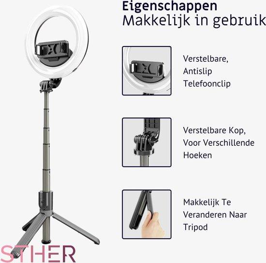 Ringlamp – TikTok Lamp met Statief – 90 cm / 35 inch – Selfie Ringlight incl. selfie stick.