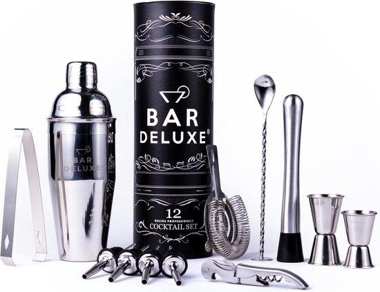 Cocktail Set van BarDeluxe® – 12-Delige Cocktailset – Cocktail Shaker Set (750ml) – Luxe Cadeauverpakking – RVS – Inclusief Nederlandstalig Receptenboek
